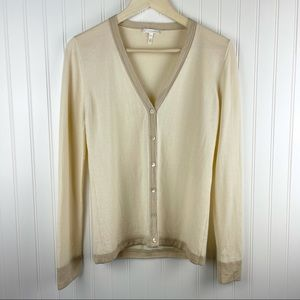 Escada Cashmere Cream Button Front Cardigan 38 S